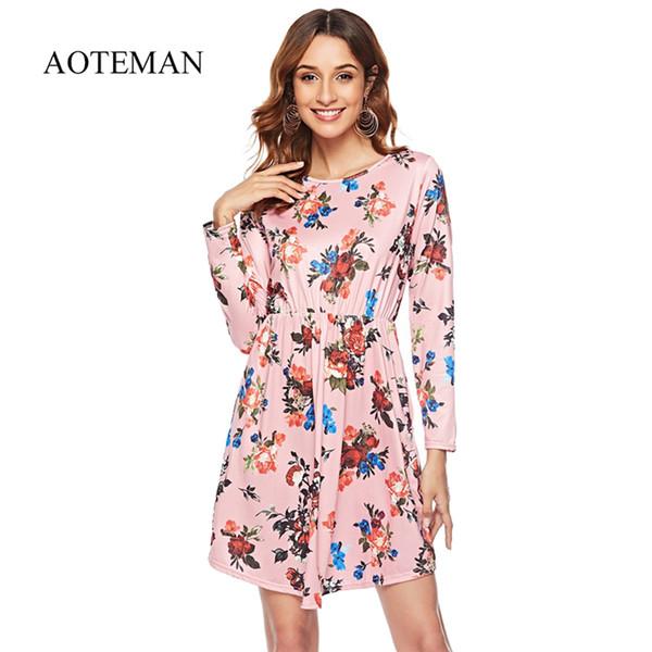 3002a4135 Aoteman nuevas mujeres del verano ocasional bohemio impresión floral dress  mujer vintage o-cuello de