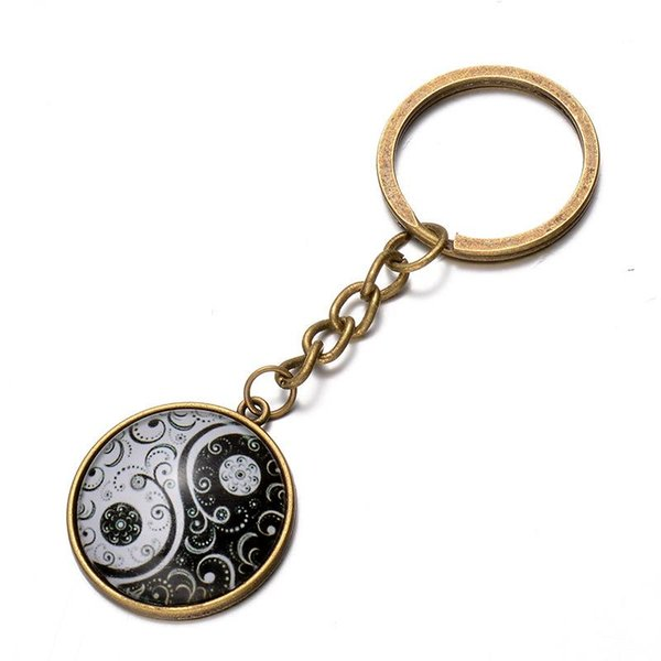 Chinese Style Yin Yang Tai Chi Keychain Vintage Best Friends Friendship Key Ring For Car Keys Bag BFF Couples Key Chain Hang Buckle Jewelry