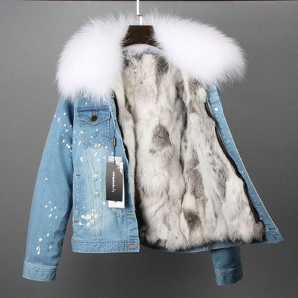 white raccoon fur collar women warm jackets white grey rabbit fur lining light blue mini hole demin jackets