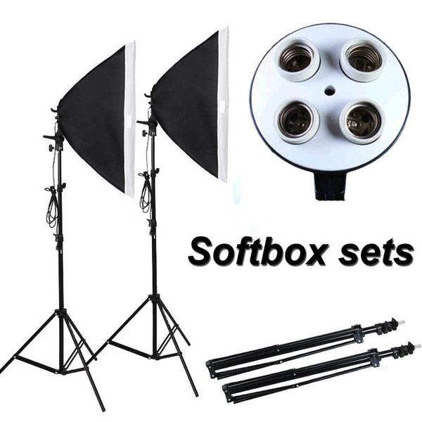 Photographic Equipment Photo Studio Soft Box Kit Video Four-capped lamp Holder Lighting+50*70cm Softbox+2m light stand photo box