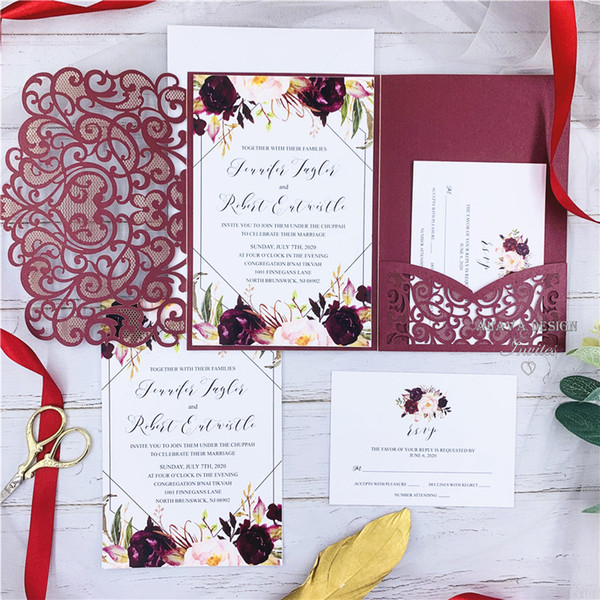 best selling The Modern Touch-Burgundy Laser Cut Pocket Fold With Floral And Geometric Invitation, , Free Printing And Free Shipping