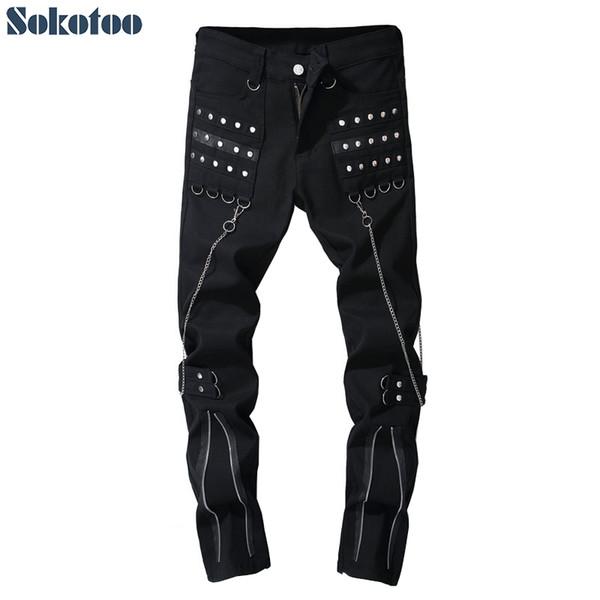 Sokotoo Men's rivet chains black denim punk jeans Fashion zippers design boot cut flare