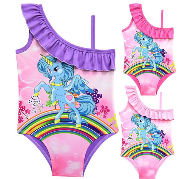 Kids rainbows unicorn swimsuits girls cartoon horse printed siamese swimming kids dew one shoulder falbala SPA beach swimwear F4111