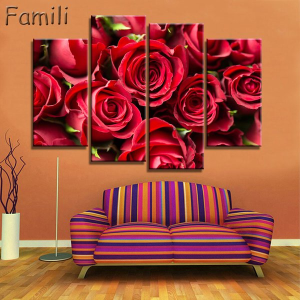 4PCS Unframed Modern Abstract Flowers Canvas Print Painting Home Wall Decor Art