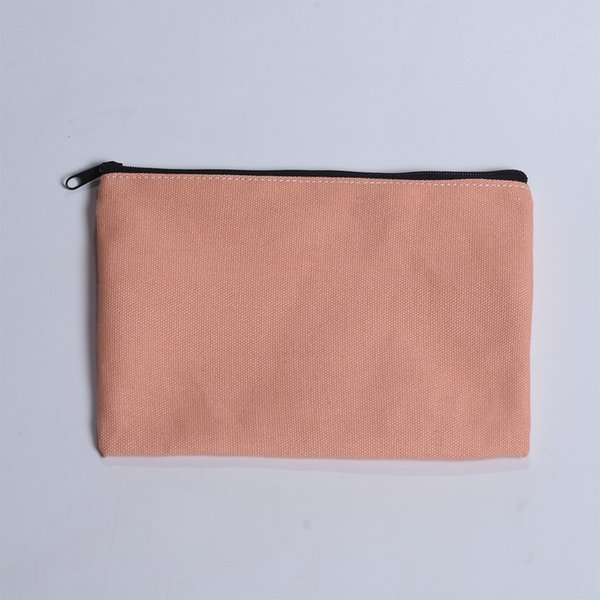 Beautiful Durable Light Pink 12oz Cotton Canvas Cosmetic Bag with Black Zipper and Inner Wrap 6x9 Inch 50pcs / Batch