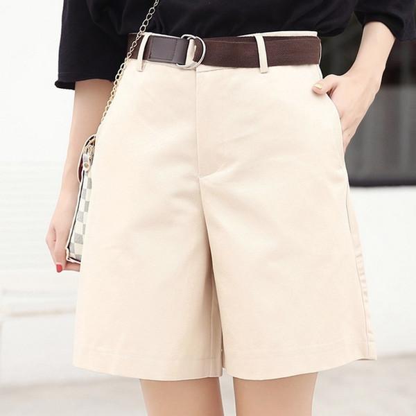 Exotao Yaz Kadın Şort Gevşek Ol Yüksek Bel Pantalones Mujer Moda Geniş Bacak Kısa Pantolon Tüm Maç 5 Renkler Cortos T419052904