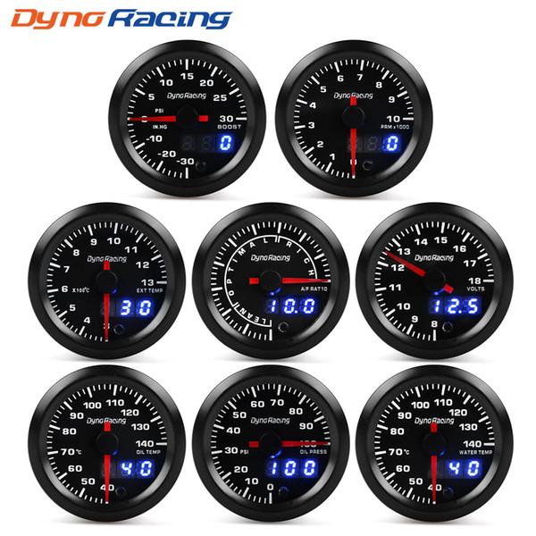 """best selling Dynoracing 2"""" 52mm 7 Colors LED Dual Display Boost Water Oil temp Oil pressure Voltmeter Air fuel Ratio EGT Tachometer Car Gauge"""