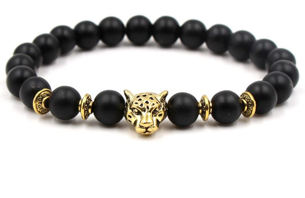 top popular 8mm adjusted Charm head nature stone bead copper Frosted agate Onyx Bracelet rfh35 leopard head Reiki Chakra Buddha Yoga 2021