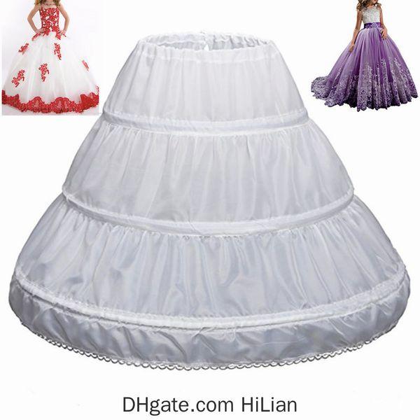 6 ~ 14 yıldır Kız Çocuk Petticoat A-Line 3 Hoops Tek Katman Çocuklar Crinoline Dantel Trim Çiçek Kız Elbise Jüpon Elastik Waist Fit