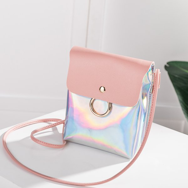Cheap Fashion Women laser reflective shoulder bag mobile phone handbag lady's new trend small phone bags girl smooth surface mini purse