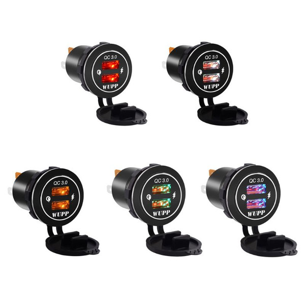 Aluminum Waterproof Dual QC 3.0 USB Fast Charger Socket Power Outlet With Led Light for Car Boat Marine Rv Motorcycle Mobile Pho