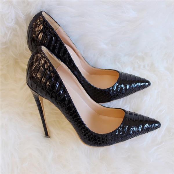 Livraison gratuite femmes newlady 2019 mariage noir serpent en cuir verni Poined Toes talons de mariage talons aiguilles chaussures pompes bottes 10cm 8cm