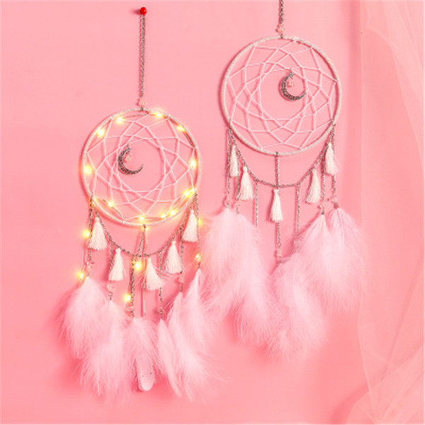 best selling LED wind chimes dream catcher pendant feather home decoration LED Light Dream Catcher Bed Room Hanging Ornament pendant 5 color