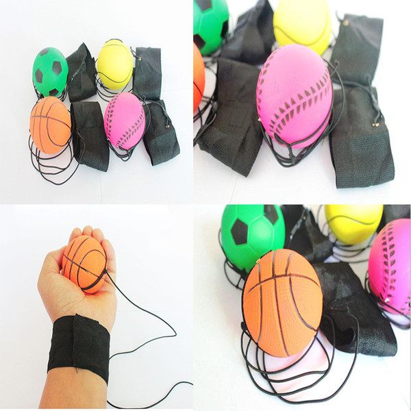 top popular 63mm Throwing Bouncy Ball Rubber Wrist Band Bouncing Balls Kids Elastic Reaction Training Antistress Balls school teaching tool dc411 2019