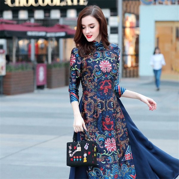 Robe d'été longue Cheongsam Vietnam robes traditionnelles Aodai gracieuse col dress robe Qipao robes femmes Livraison gratuite