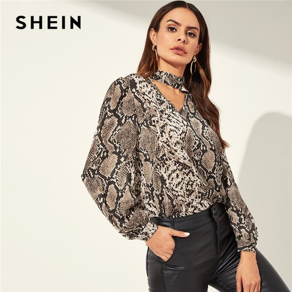SHEIN Snake Animal Pattern Choker Neck Cut Out Multicolor Top Casual V-neck Long Sleeve Blouse Women Spring Plain Top
