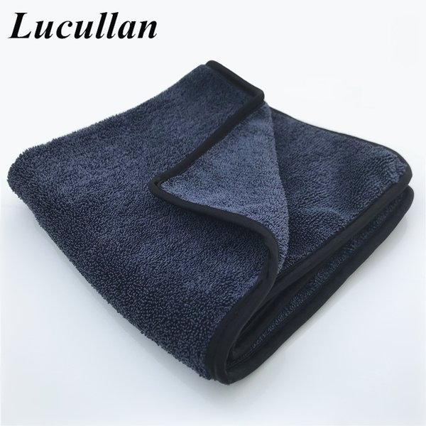 Lucullan Made In Korea Double Side Twist Towel With Silk Edge 70/30 Blend Microfiber Car Cleaning Drying Cloth For Glass