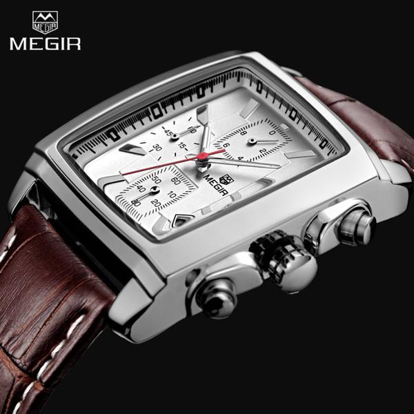 2018MEGIR New Casual Brand Watches Men Rectangle Sport Chronograph Wristwatch Man Leather Watch For Male Waterproof Reloj Hombre