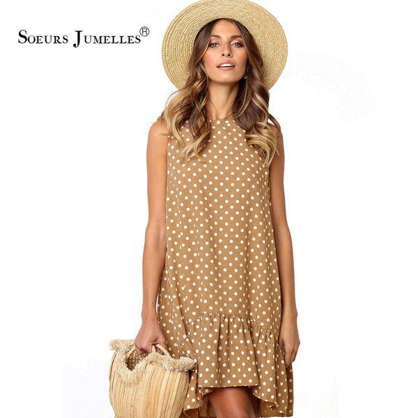 Summer Dress Women Ruffles Polka Dot 2019 Vacanze A-line Boho Blue Beach Mini Sundress Sexy Elegante Sottile Allentato Marca Abiti Q190520
