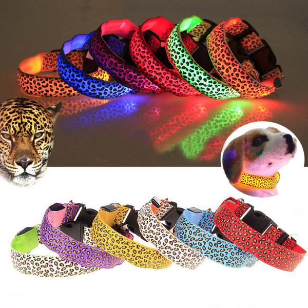 S-XL Led Light Glowing Dog Collars Necklace Leopard Flashing Spotted Dot Lines Pet Cat Collar Fluorescence Trends Pet supplies S-XL HH7-1941