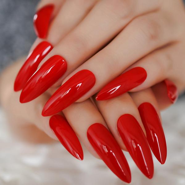 Compre Clásico Chino Rojo Uñas Falsas Extrema Larga Brillante Uñas De Azúcar Para Dedos Uv Gel Diy Consejos De Manticure Party Nail 24 A 3492 Del