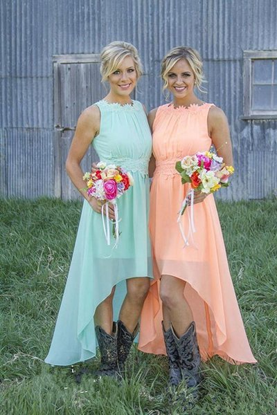 2019 New Cheap Chiffon High Low Lace Bridesmaid Dresses Crew Neck Western Country Summer Plus Size Formal Party Prom Dresses Custom Made