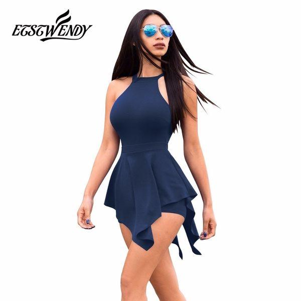 New Summer 2019 Sleeveless Casual Playsuit Beach Jumpsuit Ruffles Elegant Slim Women Clothes White Black Sexy Short Pants C19042201