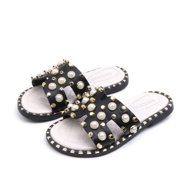 2019 летние новые детские туфли жемчужные тапочки для девочек мода детские тапочки сандалии для девочек детская дизайнерская обувь принцесса обувь для девочек A3647