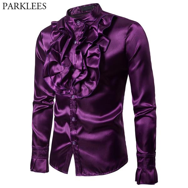 Camisa de satén de seda púrpura de los hombres Designe único de la boda de la vendimia de la camisa del smoking del hombre de manga larga Slim Fit Gothic Hombre Chemise Homme