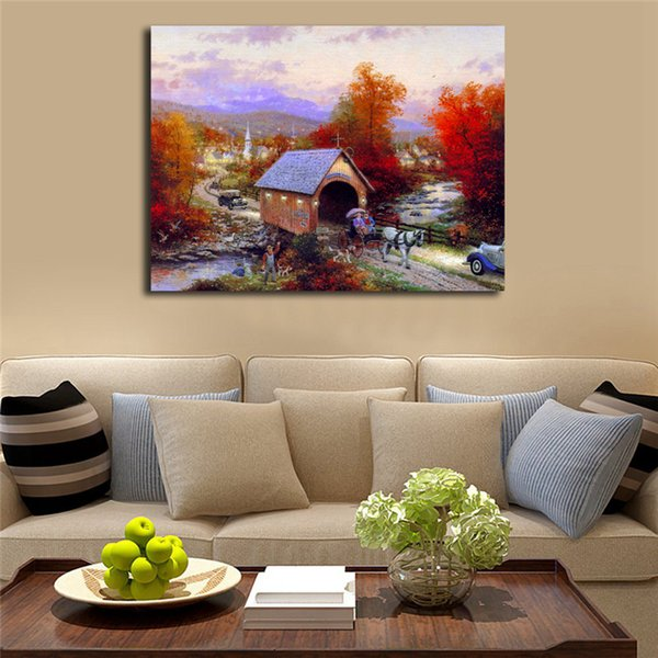 The Old Covered Bridge Thomas Kinkade Canvas Painting Print Living Room Home Decor Modern Wall Art Oil Painting Poster Framework