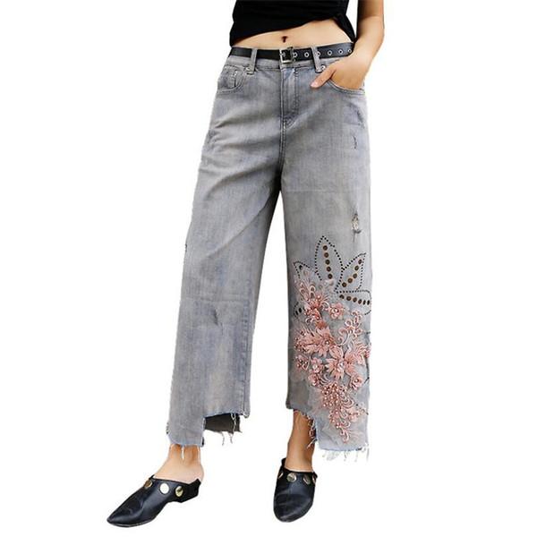 Geniş bacak pantolon Denim pantolon 2019 Yaz Ince kesit Kadınlar yüksek bel delik Boncuklu nakış çiçekler kot kadın rahat w1184