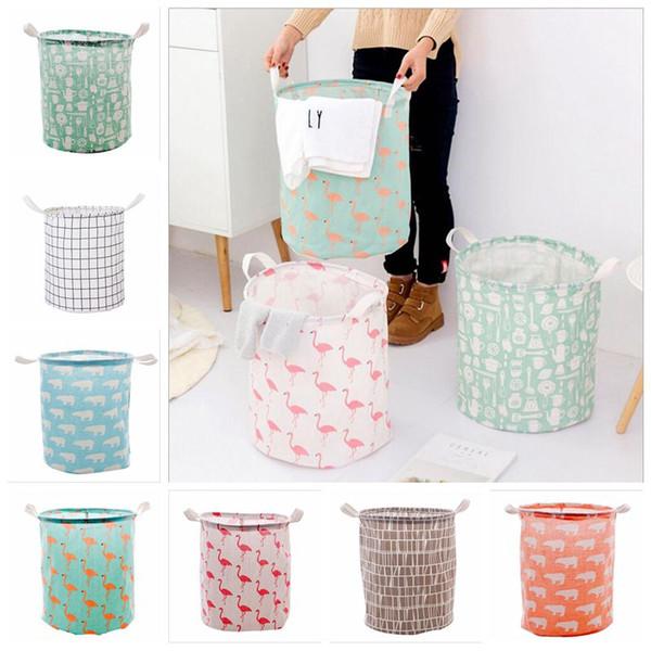 Foldable Laundry Storage Basket Flamingo Bear Printed Clothes Storage Bag Waterproof Home Sundries Storage Barrel Kids Toys Organizer LT410
