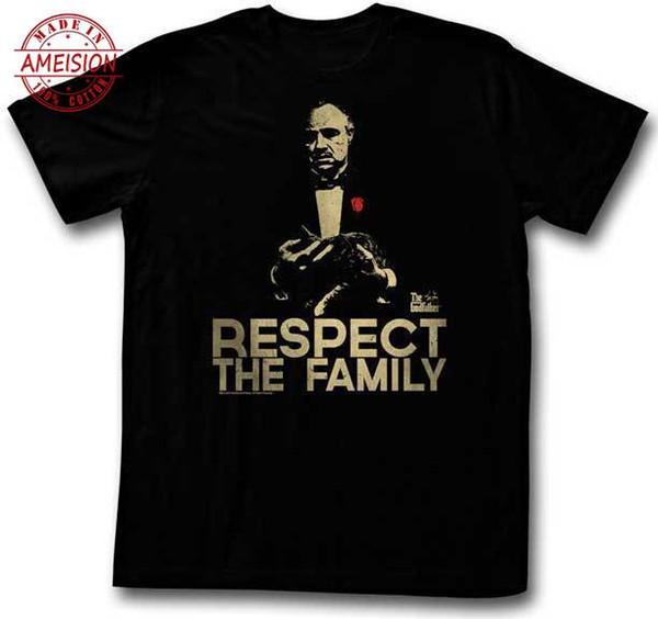 The Godfather Respect The Family Camiseta para adultos Classic Gangster Película Camiseta impresa Nueva moda divertida Tops Camiseta