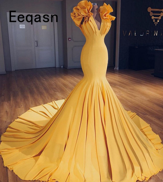 Elegant Long Prom Dress 2018 Yellow Mermaid Style V Neck Pleated Imported Party Dress Women Formal vestido