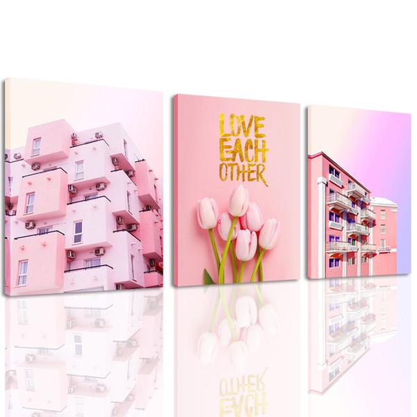 Acheter Toile Mur Art 3 Panneau Rose Tulipe Et Villa Peinture Couleur Chaude Style Mur Photo Mur Décor Pour Chambre Chambre De 25 62 Du