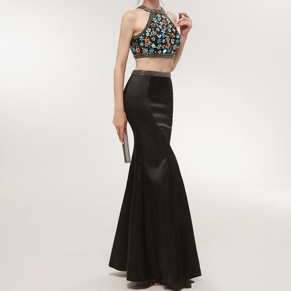Cheap Two Piece Prom Dress Black Halter Rhinestones Beading Open Back Sexi Prom Dress Evening Gown vestido de festa Tight Party Dresses