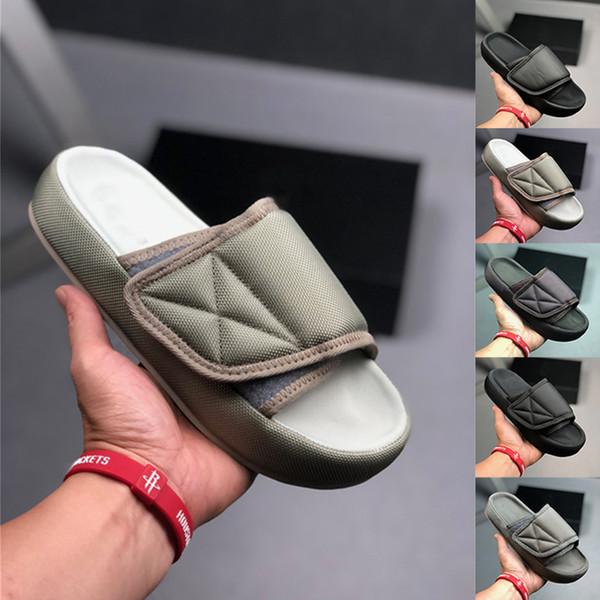 2019 Kanye West Yaz Tasarımcı Flip Flop Kadınlar Terlik Beyaz Siyah Gri Slayt Lüks Sandalet Plaj Açık Erkek Günlük Ayakkabılar Boyut 36-45