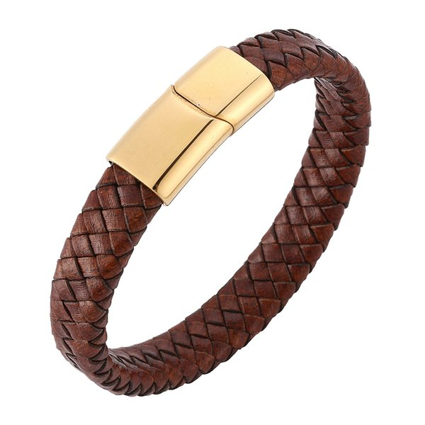 Fashion Men Jewelry Brown Braided Leather Bracelet Gold Stainless Steel Magnetic Clasp Bangle Charm Male Wrist Band Gift PD0232