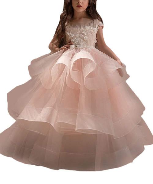 New Long Little Girls Pageant Dresses for Wedding Kids First Communion Prom Ball Gown Flower Girl Dress