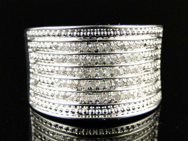 14K WHITE GOLD FINISH LADIES ROUND CUT XL WHITE DIAMOND FASHION BAND RING .41CT