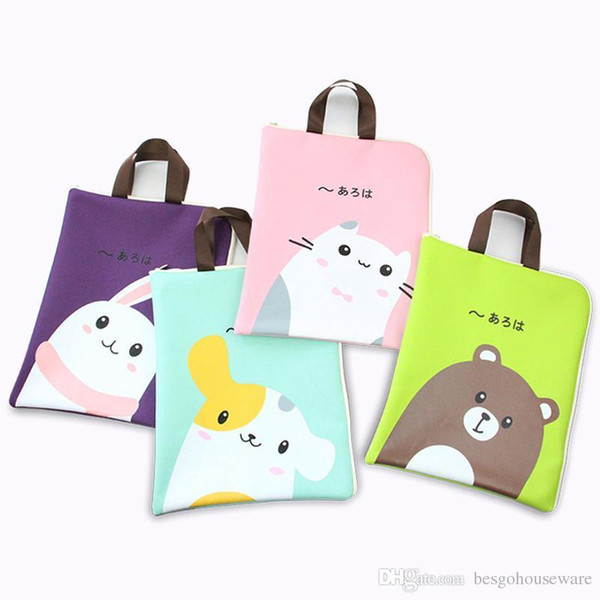 Multifunction Large Capacity Storage Bag Waterproof Stationery Bag Cute Animals Handbag Zipper Durable Phone File Sundries Bags BC BH1491