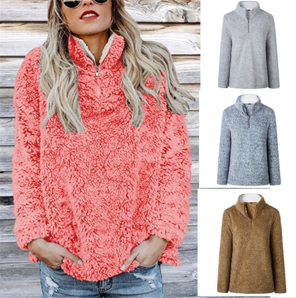 best selling Sherpa Pullover Women Hoodies Plus Size Autumn Winter Warm Long Sleeve Turtleneck Sweatshirts Solid Fleece Sweater Zipper Soft Clothing 3xl