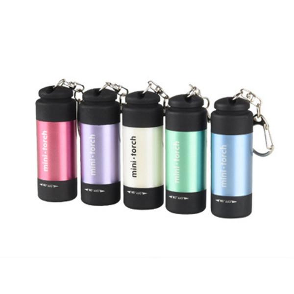 Açık fonksiyonlu led el feneri mini plastik parlak el feneri usb şarj edilebilir anahtarlık lambası su geçirmez taşınabilir ışık LJJZ254