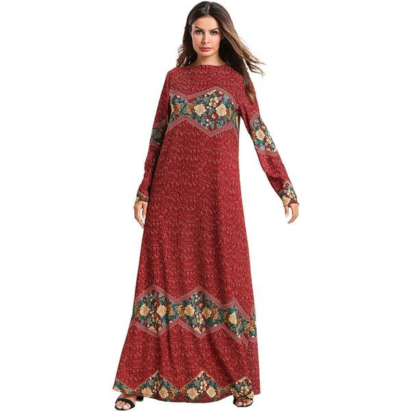 Plus Size 2019 New Women Musulmano Kaftan Dress Girocollo Manica lunga Retro etnica stampa floreale Maxi abito casual allentato lungo vestito rosso