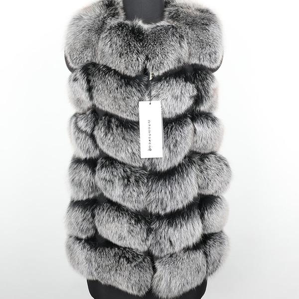 2019 yeni Kadın noktasında darbe Boyut Gri Doğal Fox Kürk Yelek Coat Moda kürk Çim Yelek Ceket Parka T191115