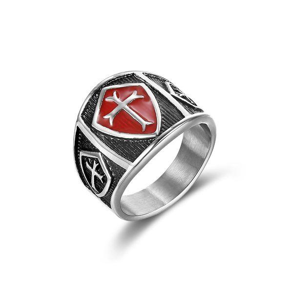 Edelstahl Kreuz Ring Für Frauen Männer Roten Emaille Kreuz Punk Gothic Finger Ring für Religion Modeschmuck