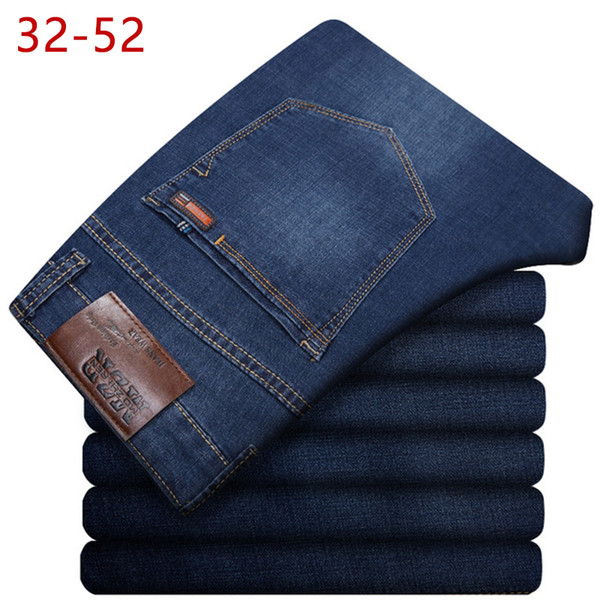 Plus 32-52 Men Classic Straight Baggy Jeans New Male Thin Casual Regular Fit Denim Pants Big Size Overalls For Mens C19040801