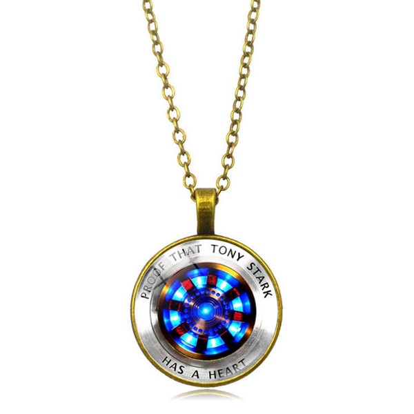 Marvel Iron Man Tony Stark Heart Necklace Creative Arc Reactor A Generation Time Gem Chain Necklace The Avengers Jewelry