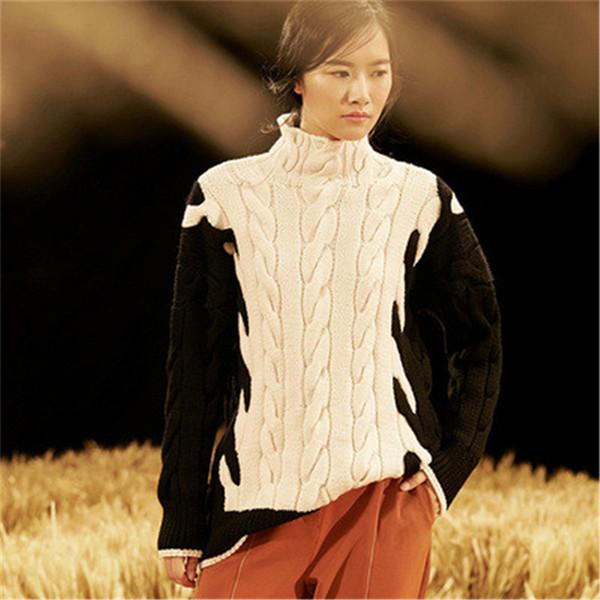 100% ручной работы из чистой шерсти водолазка витая вязать женщин уличная одежда свободные лоскутное пуловер свитер oneover размер