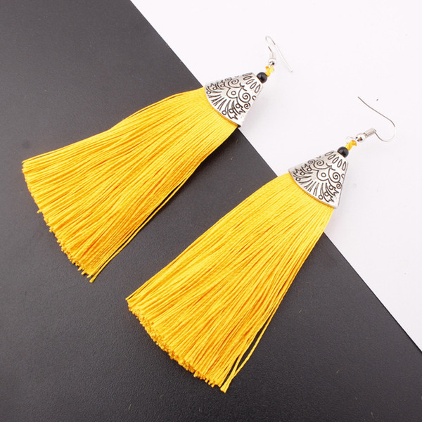 2019 New Hot Silk Thread Tassel Earrings Ethnic Style Bridal Accessories Catwalk Exaggerated Long Tassel Earrings Female Jewelry Best Gift